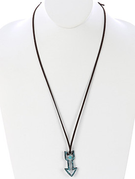 NECKLACE / HAMMERED METAL CROSS / ADJUSTABLE FAUX SUEDE / NATURAL STONE BEAD / AGED FINISH / CUTOUT / 30 INCH LONG / 2 INCH DROP / NICKEL AND LEAD COMPLIANT