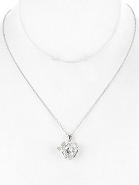 NECKLACE / HEART SHAPE / GLASS STONE CHARM / BOW / METAL SETTING / LINK / CHAIN / 18 INCH LONG / 7/8 INCH DROP / NICKEL AND LEAD COMPLIANT