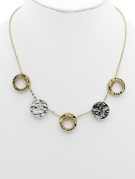 NECKLACE / HAMMERED ROUND METAL / BIB / CUTOUT RING / TWO TONE / LINK / CHAIN / 16 INCH LONG / 3/4 INCH DROP / NICKEL AND LEAD COMPLIANT
