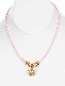 NECKLACE / BRAIDED CORD / METAL CROWN PENDANT / CUTOUT / METALLIC RING BEAD / CRYSTAL STONE / EPOXY COAT / TWISTED / TEXTURED / 16 INCH LONG / 1 INCH DROP / NICKEL AND LEAD COMPLIANT