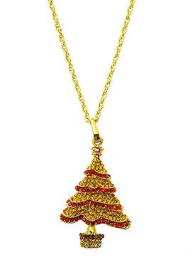 NECKLACE / CHRISTMAS / TREE / PAVED GLASS STONE / METAL CHAIN / 26 INCH LONG / 2 3/4 INCH DROP / NICKEL AND LEAD COMPLIANT