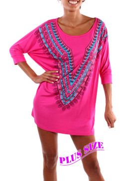 PS Plus Groovin' Tunic Top/Dress - Fushcia