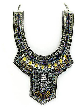 NECKLACE / BOHEMIAN / BIB / METAL BEAD / MICRO BEAD / FACETED LUCITE BEAD / LIMK / HOLLOW METALLIC BEAD / 12 INCH LONG / 4 1/2 INCH DROP / NICKEL AND LEAD COMPLIANT