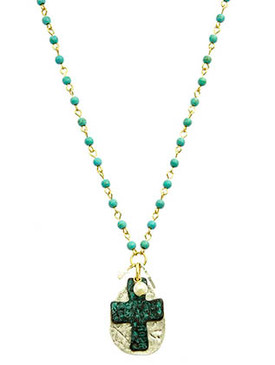 NECKLACE / TWO TONE METAL / CROSS PENDANT / HOPE / HAMMERED METAL / PEARL / LUCITE BEAD / NATURAL STONE FINISH / LINK / CHAIN / 16 INCH LONG / 1 3/4 INCH DROP / NICKEL AND LEAD COMPLIANT