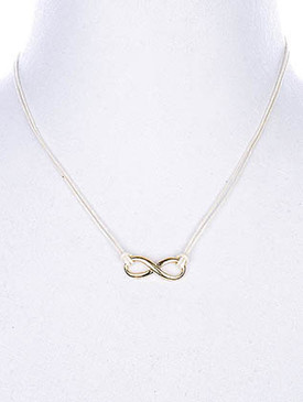 NECKLACE / LINK / CORD / METAL / INFINITY / 1/3 INCH DROP / 18 INCH LONG / NICKEL AND LEAD COMPLIANT