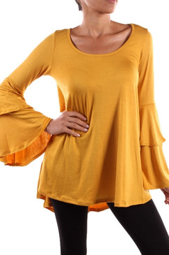 Solid Double Bell Sleeve Top - Mustard