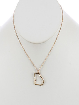NECKLACE / STATE OF GEORGIA / CHARM / MATTE FINISH / HAMMERED / CUTOUT METAL / CHAIN / 16 INCH LONG / 1 1/8 INCH DROP / NICKEL AND LEAD COMPLIANT
