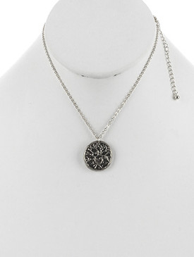 NECKLACE / ROUND METAL / TREE OF LIFE CHARM / HEART / AGED FINISH / TEXTURED / HAMMERED / CHAIN / 16 INCH LONG / 1 INCH DROP / NICKEL AND LEAD COMPLIANT
