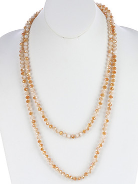 NECKLACE / IRIDESCENT GLASS BEAD / EXTRA LONG WRAPAROUND / METALLIC BEAD / 56 INCH LONG / 1/4 INCH DROP / NICKEL AND LEAD COMPLIANT