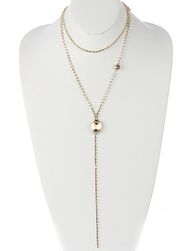 NECKLACE / FACETED OVAL STONE / TWO LAYER RHINESTONE DROP / METAL SETTING / 16 INCH LONG / 13 INCH DROP / NICKEL AND LEAD COMPLIANT