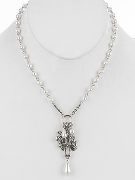 NECKLACE / FILIGREE METAL CHARM / PEARL / CROSS / HEART / FLEUR DE LIS / HAMMERED / CUTOUT / AGED FINISH / CRYSTAL STONE / 16 INCH LONG / 2 INCH DROP / NICKEL AND LEAD COMPLIANT
