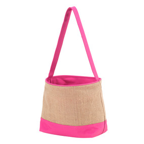 Pink Burlap Easter Bucket