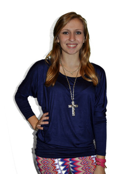 Long Sleeve Piko Style Top - Navy