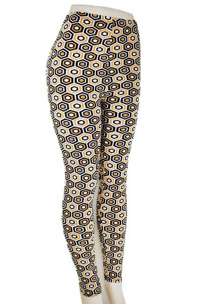 Beehive Design Leggings - Mustard