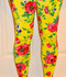 Yellow Antique Rose Stretch Leggings