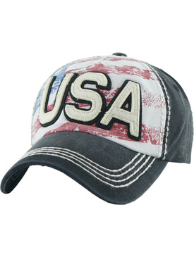 HAT AND CAP / DISTRESSED AMERICAN FLAG / USA FADED / STARS AND STRIPES / RED WHITE AND BLUE / PATCH / STITCHING / BUCKLE BACK / ADJUSTABLE / ONE SIZE / NICKEL AND LEAD COMPLIANT