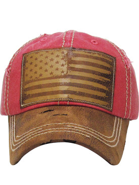 HAT AND CAP / AMERICAN FLAG / DISTRESSED AND FADED / FAUX LEATHER BILL / PATCH / STARS AND STRIPES / STITCHING / BUCKLE BACK / ADJUSTABLE / ONE SIZE / NICKEL AND LEAD COMPLIANT