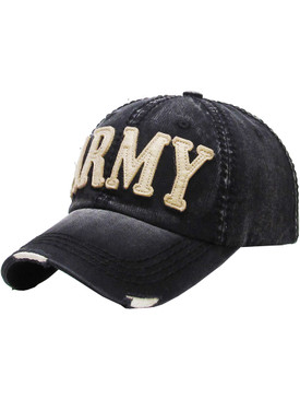 HAT AND CAP / ARMY / DISTRESSED AND FADED / STITCHED / BUCKLE BACK / ADJUSTABLE / ONE SIZE / NICKEL AND LEAD COMPLIANT