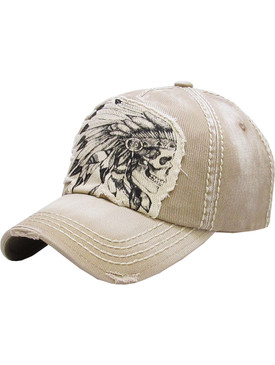HAT AND CAP / SKULL CHIEF / DISTRESSED AND FADED / NATIVE AMERICAN / STITCHED / BUCKLE BACK / ADJUSTABLE / ONE SIZE / NICKEL AND LEAD COMPLIANT