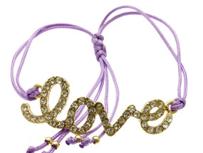 Love Adjustable Cord Bracelet - Purple