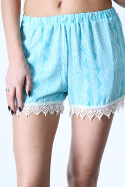 Hybrid Print Crepe Shorts