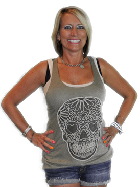 Heart Eye Skull Patch Tank - Olive