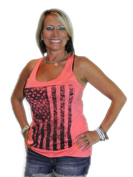 Distressed Flag Tank - Neon Pink