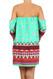 Aztec Border Print Off the Shoulder Dress - Coral