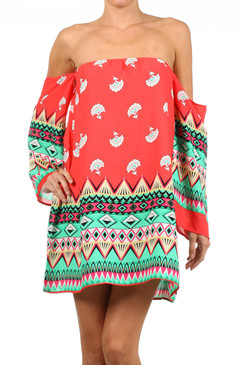 Aztec Border Print Off the Shoulder Dress - Coral