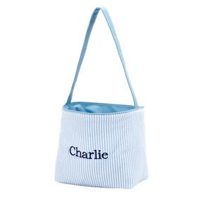 Blue Seersucker Easter Bucket