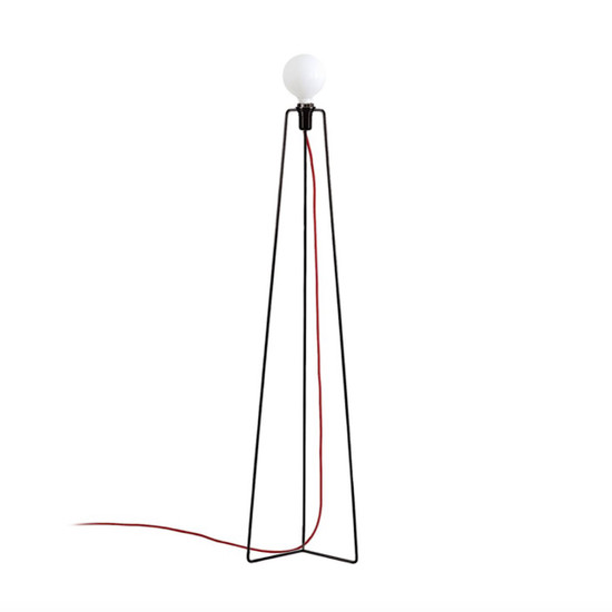 FLOOR LAMP 'MODEL M3' with Black frame and Red textile cord by Grupa Products