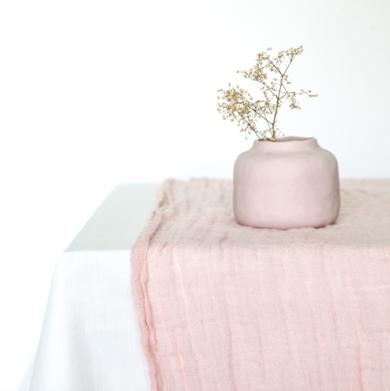 LINEN TABLE RUNNER, Nude, 60x180cm by Linge Particulier