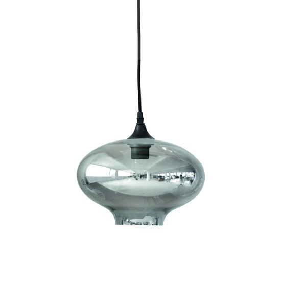 LAMP, Ellipse, Smokey Blue with mirror effect, dia. 26 cm, by HOUSE DOCTOR