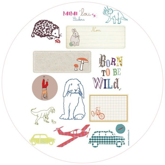 Set of 12 stickers by Mimi Lou | Hedgehog, rabbit, 'BORN TO BE WILD', dinosaur, cars, plane... to stick on books, walls, boxes and furniture