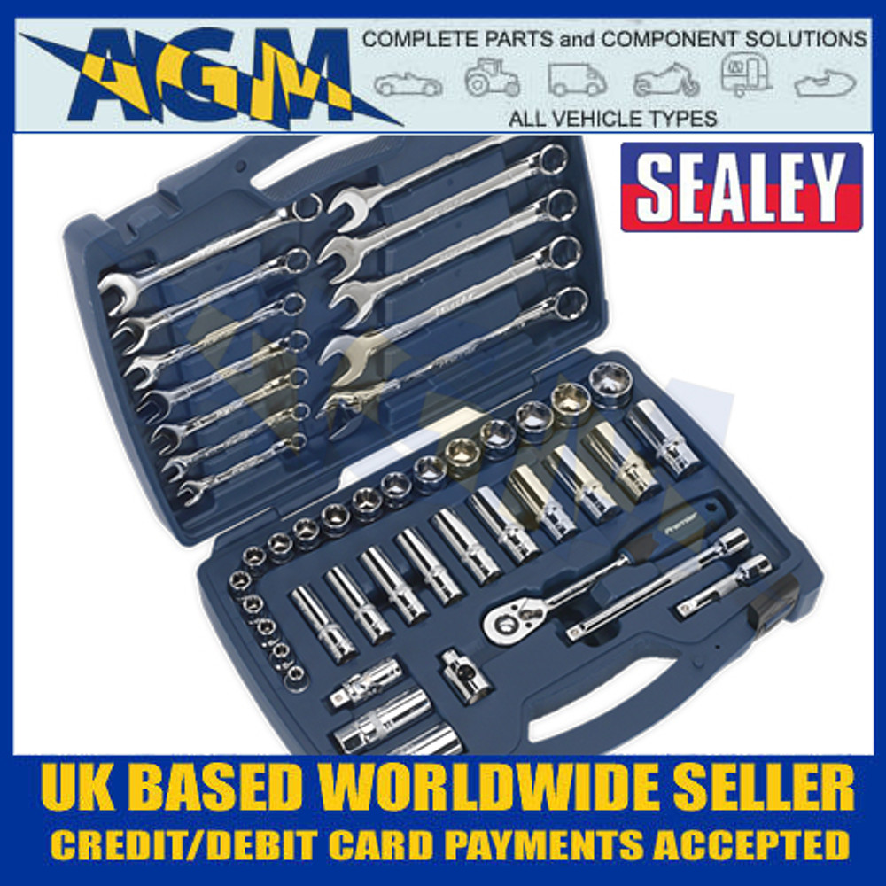 "Sealey AK8996 Socket and Spanner Set 46pc 3/8""Sq Drive 6pt WallDrive® Metric"
