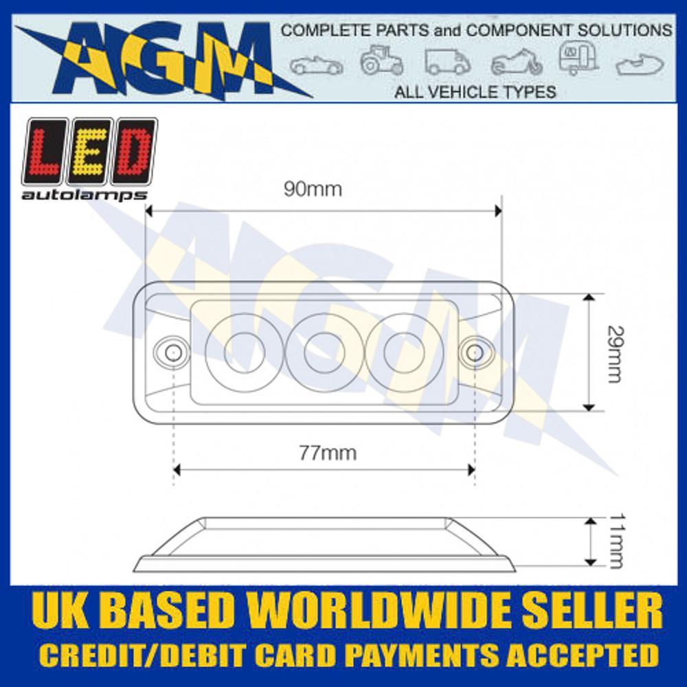 LED Autolamps SSLED3DVR Super-Slim Red 3 Block LED Warning Lamp Dimensions