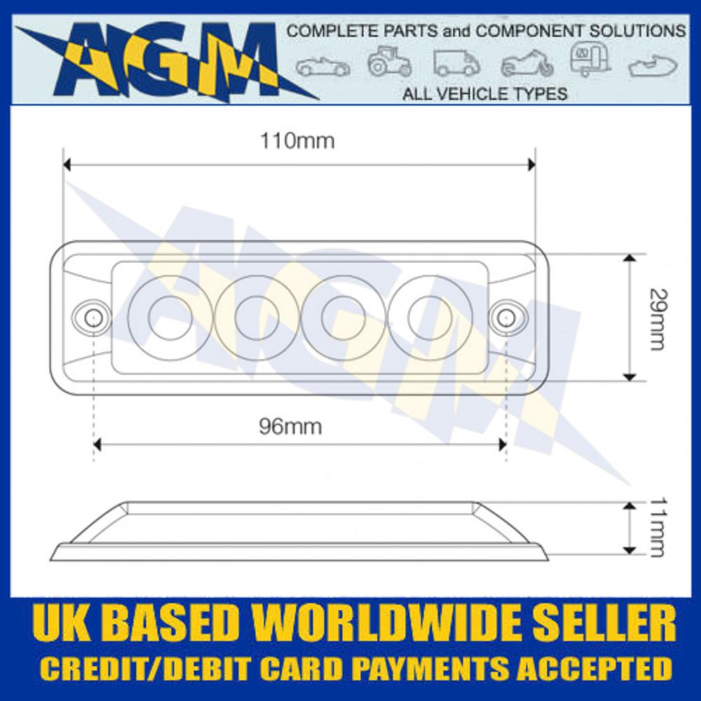 LED Autolamps SSLED4DVR Dimensions