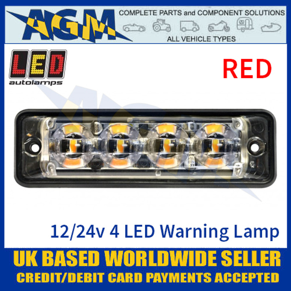 LED Autolamps SSLED4DVR Super-Slim Red 4 Block LED Warning Lamp