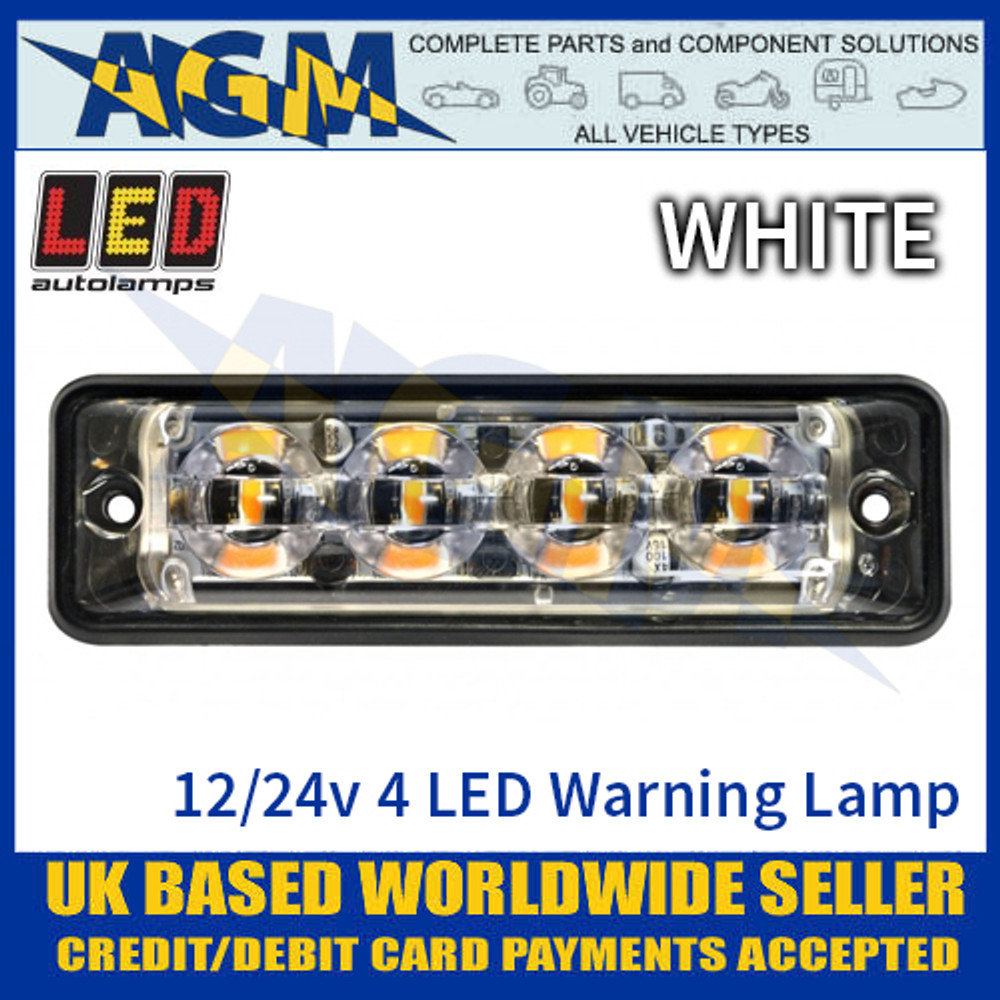 LED Autolamps SSLED4DVW Super-Slim White 4 Block LED Warning Lamp