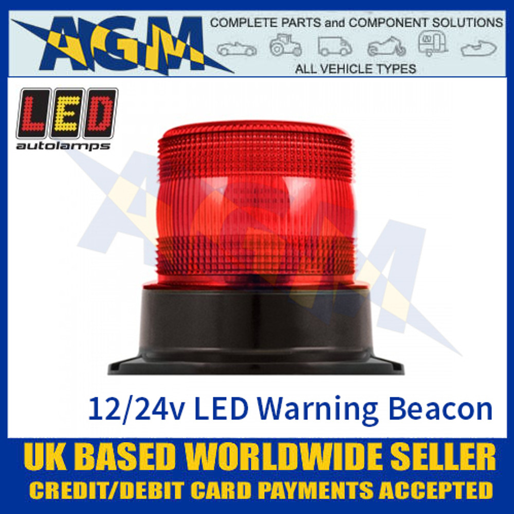 LED Autolamps EQPR10RBM Red LED Warning Beacon 12v/24v - 3 Bolt Fix
