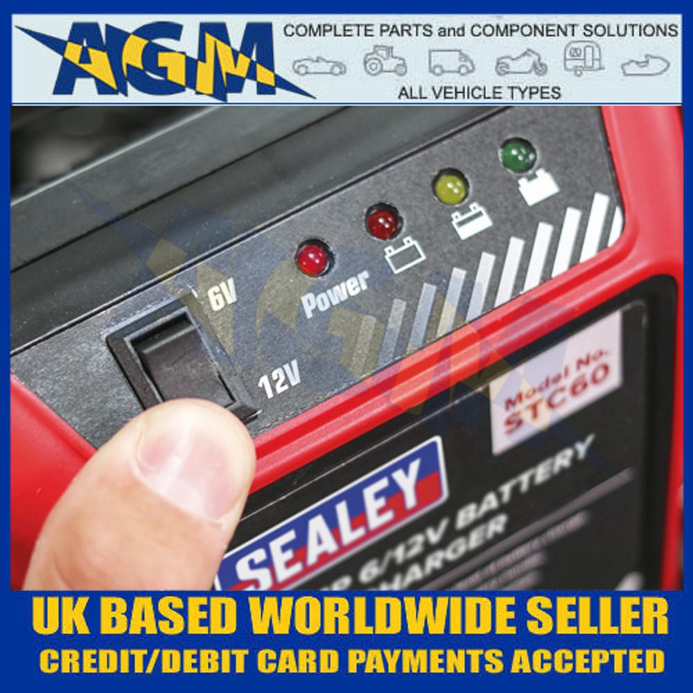 Sealey STC60 Battery Charger, 6/12 Volt 6 Amp 230 Volt