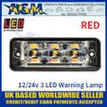 LED Autolamps SSLED3DVR Super-Slim Red 3 Block LED Warning Lamp