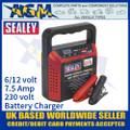 Sealey SDC75 Battery Charger, 6/12 Volt 7.5 Amp 230 Volt Battery Charger