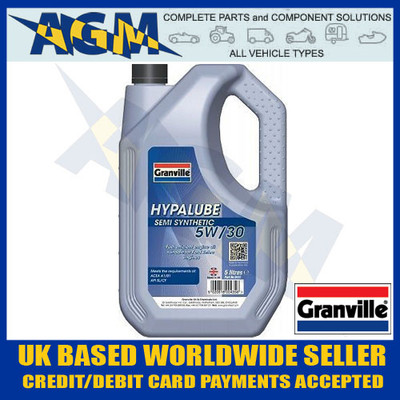 granville, hypalube, 5w30, semi, synthetic, engine, oil, 5l, ford, zetec, 0435