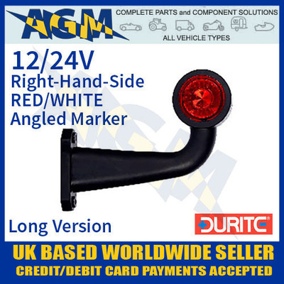 durite, 0-172-45, 017245, rh, red, white, angled, led, outline, marker, lamp, 12v, 24v