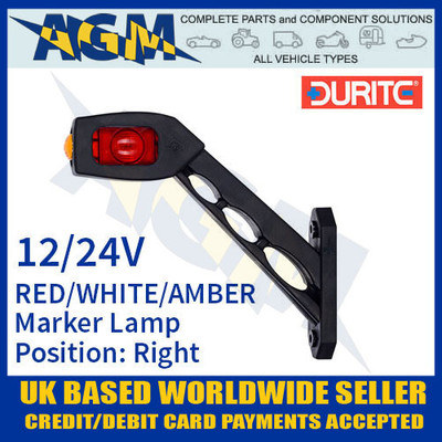 durite, 0-172-75, 017275, rh, red, white, amber, oblique, led, outline, marker, lamp, 12v, 24v