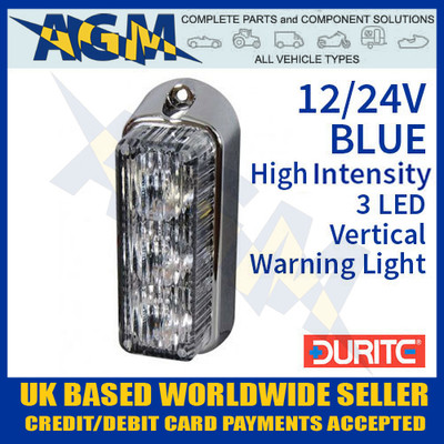 durite, 0-442-22, 044222, blue, high, intensity, led, vertical, warning, light, 12v, 24v