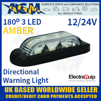 180° AMBER 3 LED Directional Amber Warning Light 12/24v