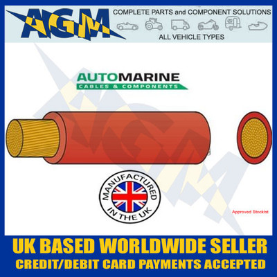 PVC20, FLEXIBLE BATTERY CABLE, 20MM², 135 AMP, 10 METRE REEL, Red, Auto Marine, PVC,