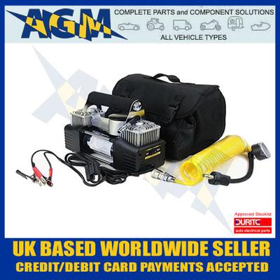 Durite 0-674-00, 12V Portable Twin Piston Air Compressor, 5M Coily Air Hose, Pressure Guage, Crocodile clips, Robust, Carry Case